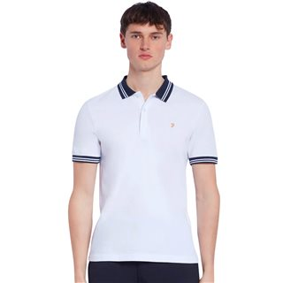 Farah White Stanton Slim Fit Tipped Organic Cotton Polo