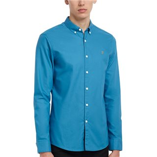 Farah Maritime Blue Brewer Slim Fit Organic Cotton Oxford Shirt