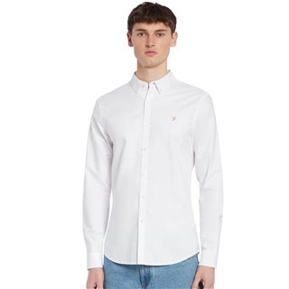 Farah White Brewer Slim Fit Organic Cotton Oxford Shirt