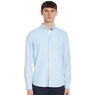 Farah Sky Blue Brewer Slim Fit Organic Cotton Oxford Shirt