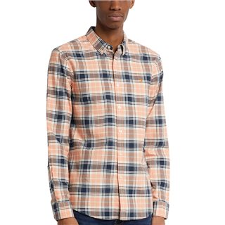 Farah Peach Solstice Brewer Slim Fit Check Organic Cotton Oxford Shirt