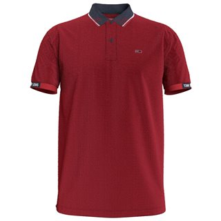 Tommy Jeans Deep Crimson Organic Cotton Rib Detail Polo