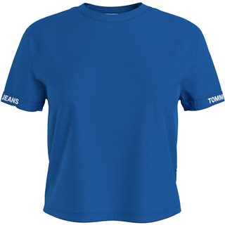 Tommy Hilfiger Blue Logo Sleeve Organic Cotton Cropped T-Shirt