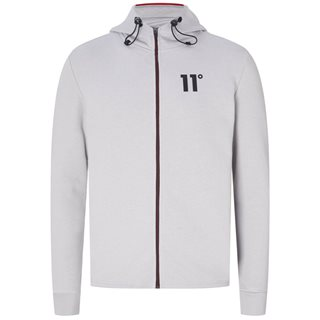 11 Degrees Vapour Grey mixed Fabric Zip Hoodie