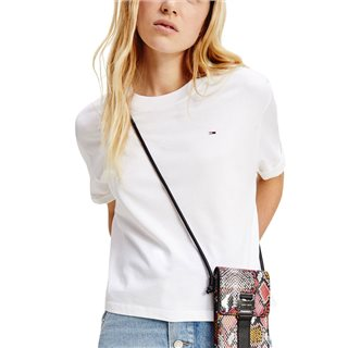 Tommy Hilfiger White Logo Sleeve Organic Cotton Cropped T-Shirt