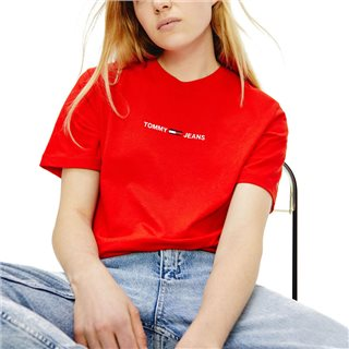 Tommy Hilfiger Crimson Organic Cotton Bxy Cropped Logo T-Shirt