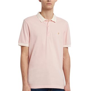 Farah Clyde Pink Stanton Organic Cotton Slim Fit Tipped Polo