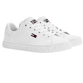 Tommy Hilfiger White Metallic Logo Trainers