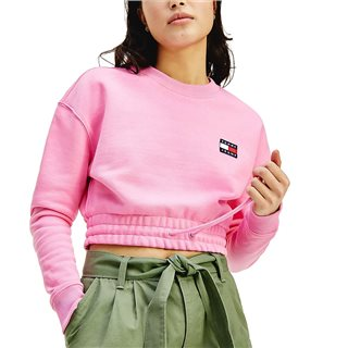 Tommy Hilfiger Pink Daisy Badge Cropped Organic Cotton Sweater