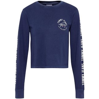 Tommy Hilfiger Navy Long Sleeve Crop Fit T-Shirt