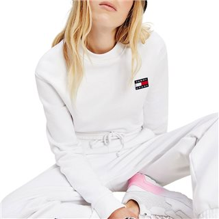 Tommy Hilfiger White Badge Cropped Organic Cotton Sweater
