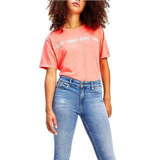 Tommy Hilfiger Diva Pink Repeat Logo Tape Cropped T-Shirt