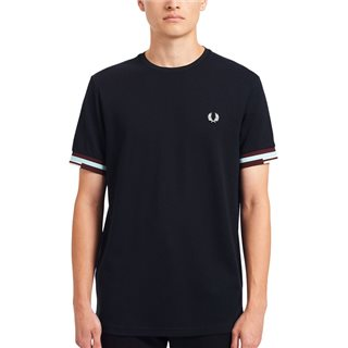 Fred Perry Navy Abstract Cuff T-Shirt