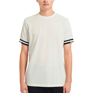 Fred Perry Snow White Abstract Cuff T-Shirt