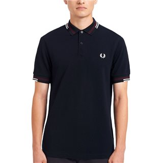 Fred Perry Navy Abstract Tipped Polo