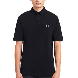Fred Perry Black Button-Down Collar Polo