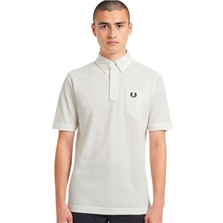Fred Perry Snow White Button Down Collar Polo