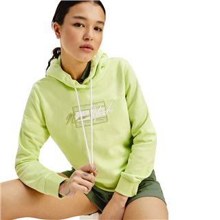 Tommy Hilfiger Faded Lime Cropped Tommy Logo Hoodie
