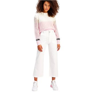 Tommy Hilfiger White Tommy Badge High Rise Straight Trousers