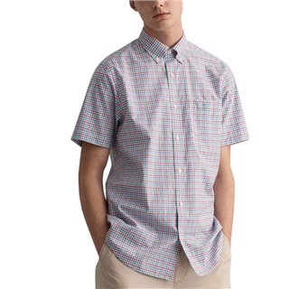 Gant Green Lagoon Regular Fit Short Sleeve 3-Colour Gingham Broadcloth Shirt