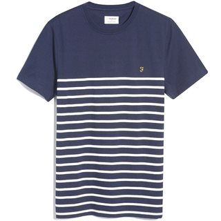Farah True Navy Florida Slim Fit Striped Organic T-Shirt