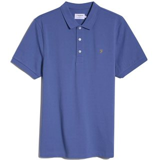 Farah Blue Mist Blanes Slim Fit Organic Cotton Polo Shirt