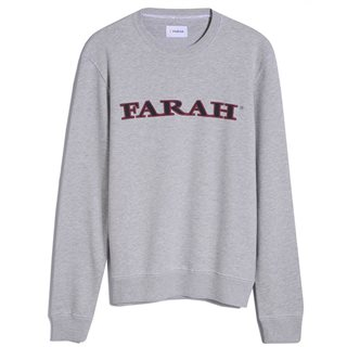 Farah Grey Marl Palm Organic Cotton Sweater