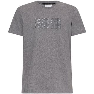 Calvin Klein Mid Grey Organic Cotton Triple Logo T-Shirt