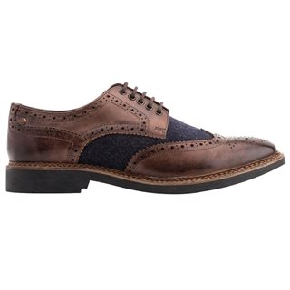 Base London Rothko Brogue Waxy & Felt Brown / Navy