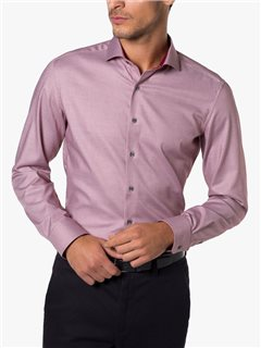 Eterna Slim Fit Structured Pattern Dress Shirt Burgandy