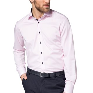 Eterna Pink Long Sleeve Modern Fit Pinpoint Shirt
