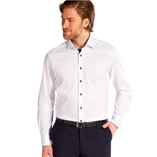 Eterna White Long Sleeve Modern Fit Pinpoint Shirt