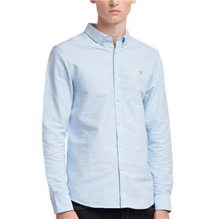 Farah Sky Blue Brewer Slim Fit Oxford Shirt