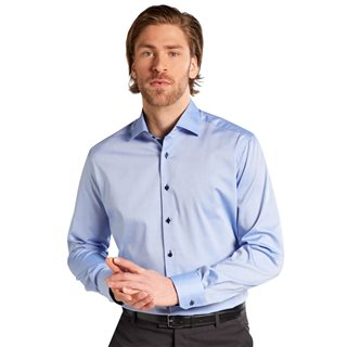 Eterna Blue Long Sleeve Modern Fit Pinpoint Shirt
