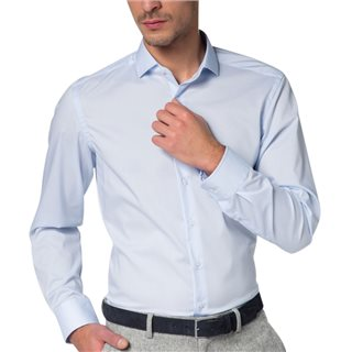 Eterna Light Blue Slim Fit Stretch Long Sleeve Shirt