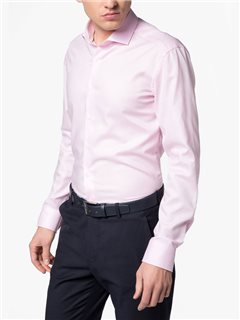 Eterna Structured Slim Fit Dress Shirt Pink
