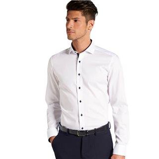 Eterna White Long Sleeve Slim Fit Pinpoint Shirt