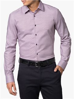 Eterna Slim Fit Pattern Dress Shirt Wine
