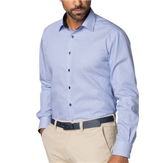 Eterna White/ Blue Long Sleeve Modern Fit Striped Shirt