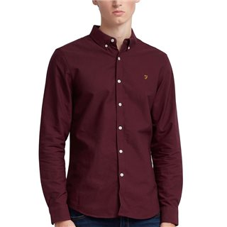 Farah Bordeaux Brewer Slim Fit Oxford Shirt