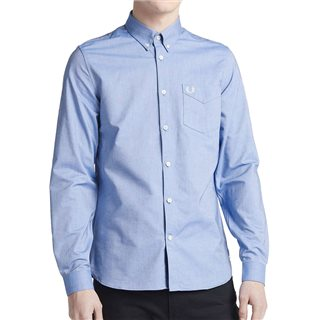 Fred Perry Mid Blue Long Sleeve Oxford Shirt