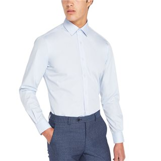 Remus Uomo Pale Blue Tapered Fit Cotton Blend Formal Shirt