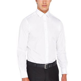 Remus Uomo White Tapered Fit Cotton Blend Formal Shirt