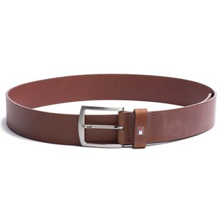 Tommy Accessories Dark Tan Denton Flag Logo Leather Belt