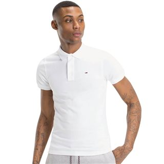 Tommy Jeans White Original Pique Polo Shirt