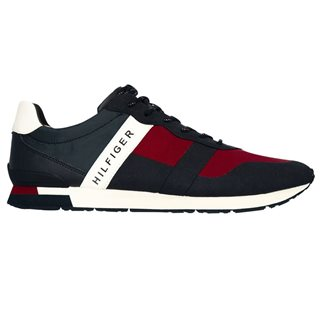 Tommy Hilfiger Footwear Material Mix Trainer Red/White/Navy