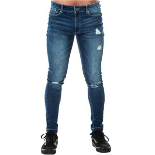Level 1 Mid Blue Rip & Repair Skinny Jean