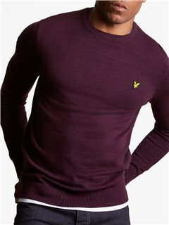 Lyle & Scott Cotton Merino Jumper Deep Plum