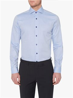 Remus Uomo Clothing Plain Tapered Fit Shirt Blue