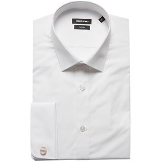 Remus Uomo White Double Cuff Tapered Shirt